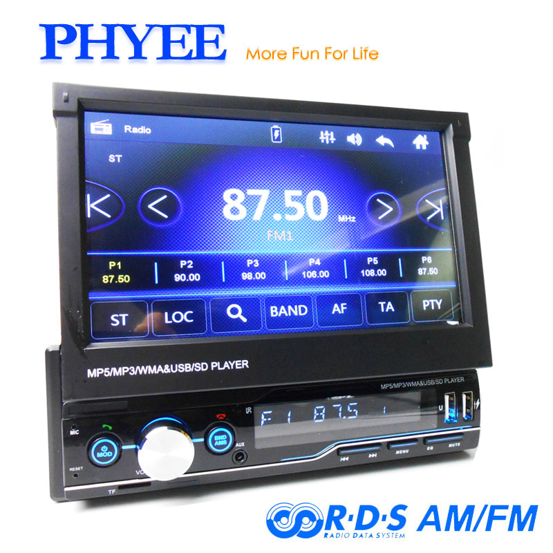 "1 Din Retractable Car Radio Mirror Link Video MP5 Player AM FM RDS USB TF Aux 7"" Touch Screen Stereo System Head Unit PHYEE T100 image"