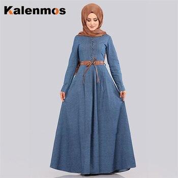 Muslim Denim Dress Women Lace-up Maxi