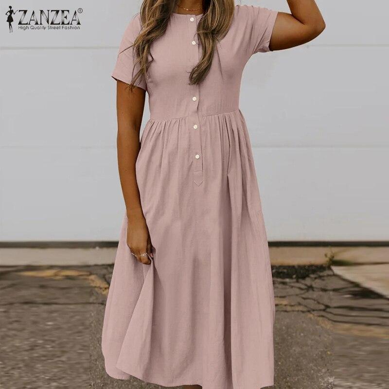 ZANZEA 2021 Elegant Solid Shirt Dress Women Summer Sundress Casual Short Sleeve Midi Vestidos Female High Waist Robe Plus Size