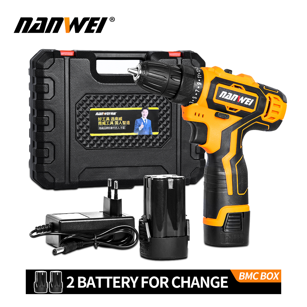 Hot Sale 12V/18V Cordless Screwdriver Lithium/ Battery Electric Mini Drill