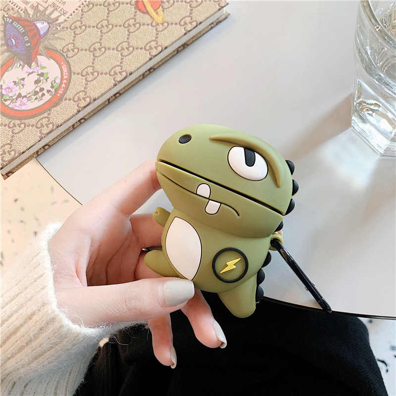 For AirPod 2 Case 3D Cool Boy Dinosaur Cartoon Soft Silicone Wireless Earphone Cases For Apple Airpods Case Cute Cover Funda
