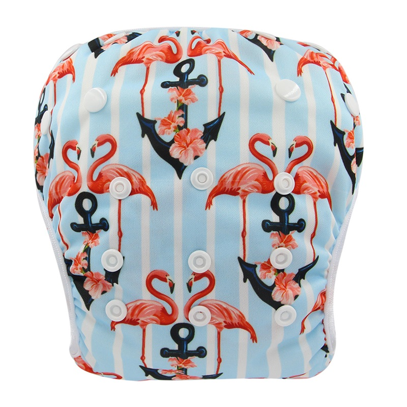 Ohbabyka Brand Snap One Size Adjustable Reusable Baby Swim Diaper Animals Cartoon Print Washable Swimsuits For Babies Gifts