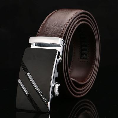 Мужской кожаный ремень с автоматической пряжкой, коричневый дизайнерский деловой ремень из натуральной кожи, 2020