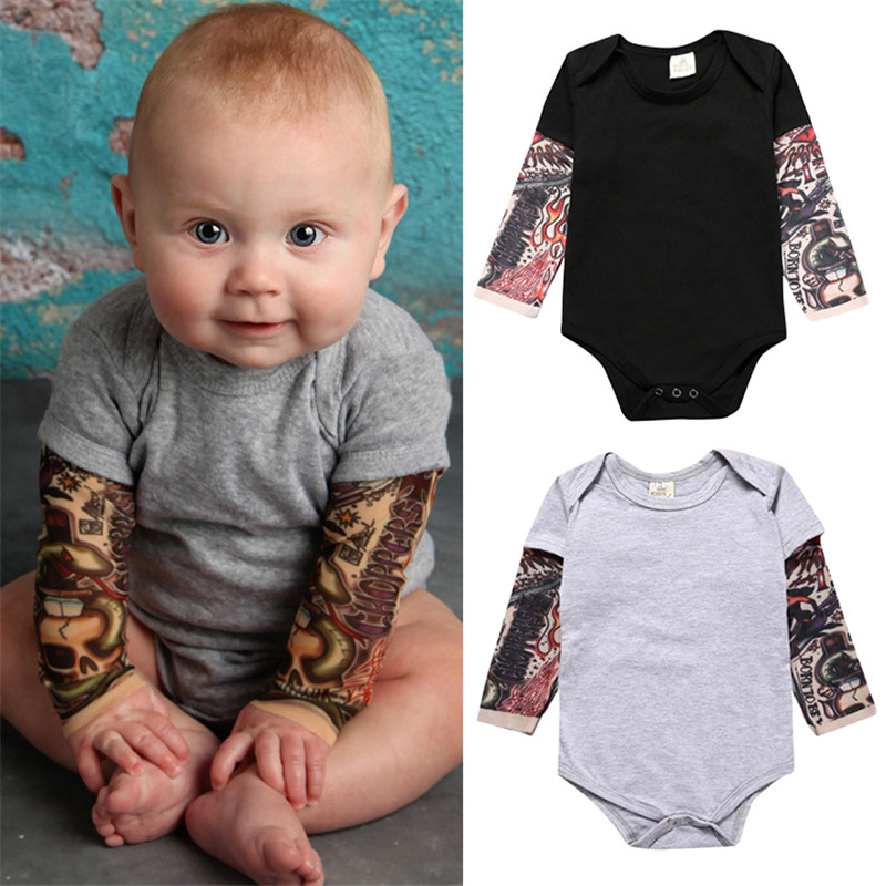 Baby Boy Rompers Costume Freestyle Pattern Children Clothes Baby Rompers Tatto Print Long Sleeve Baby Boy Clothes Jumpsuit Bebe