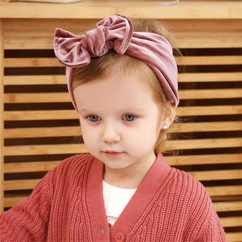 Lovely Baby Kids Bow Velvet Solid Color Warm Winter Autumn Elastic Headband Hair Accessories New Children Cute Headwarp Headhoop