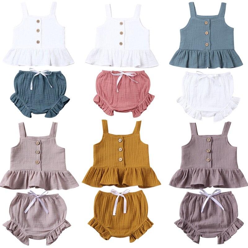 1-5Years Kid Newborn Baby Girls Button Sleeveless Tank Tok + Mini  Shorts Outfits  2pcs Clothing Set