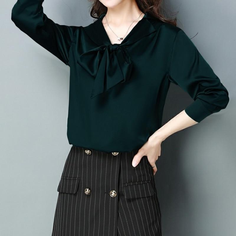 Celmia blusas de cetim feminino 2020 elegante