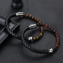 Classic Special Style Leather And Beaded DIY Combination Stitching Men #8217 s Stainless Steel Black Button Leather Bracelet For Boys cheap TANGYIN Charm Bracelets Unisex Metal Leather Rope Bracelet geometric Mood Tracker Sleep Tracker Fitness Tracker TRENDY Easy-hook