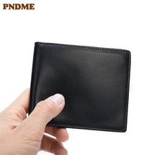 PNDME business simple black men's genuine leather short wallet soft first layer cowhide multi-card holder thin minimalist purse