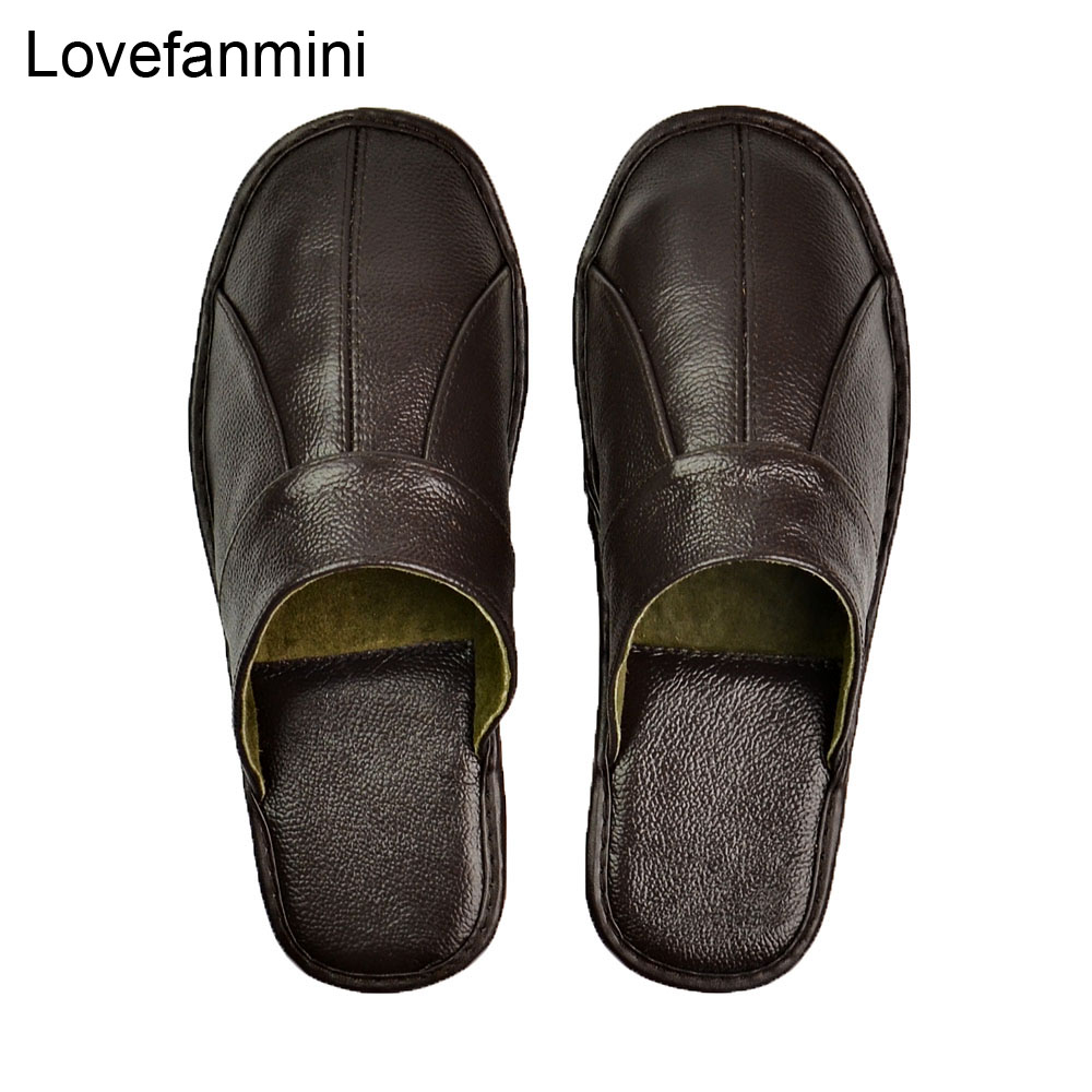 Genuine Cow Leather Slippers Couple Indoor Non-slip Men Women Home Fashion Casual Single Shoes PVC Soft Soles Spring Summer 505