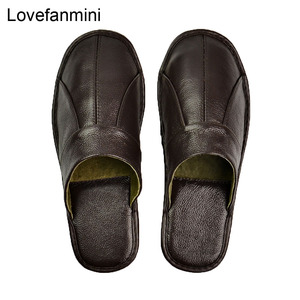 Image 1 - Genuine Cow Leather slippers couple indoor non slip men women home fashion casual single shoes PVC soft soles spring summer 505