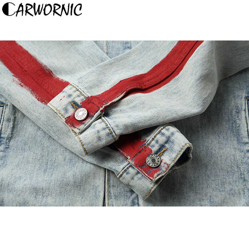 CARWORNIC Harajuku Hip Hop Jeans Jacke Männer Vintage Stickerei Drachen Streetwear Gewaschen Denim Jacke Motorrad Rot Gestreiften Mantel