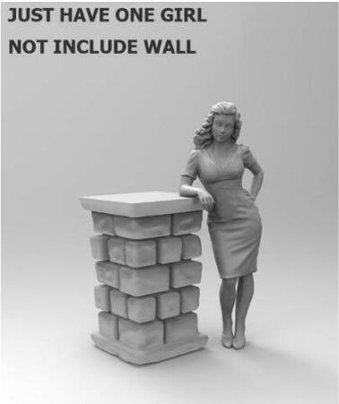 1/35 French Lady Leaning (NOT HAVE WALL )    Resin Figure Model Kits Miniature Gk Unassembly Unpainted