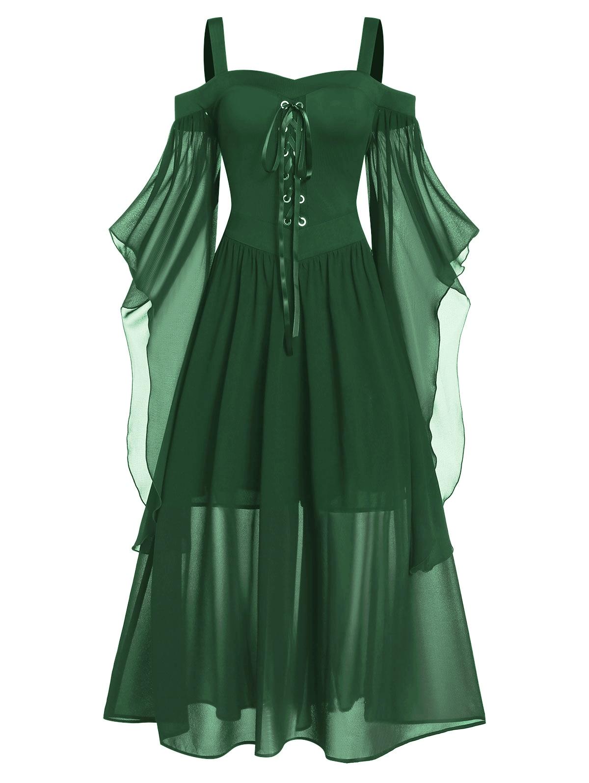 Rosegal 5XL grande taille Maxi robe froide épaule papillon manches à lacets robe d'halloween gothique fête femmes robe Vintage - 3