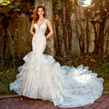 Crystal Appliques Lace Mermaid Wedding Dress With Ruffles Skirt V Neck Backless Illusion Trumpet Bridal Gowns