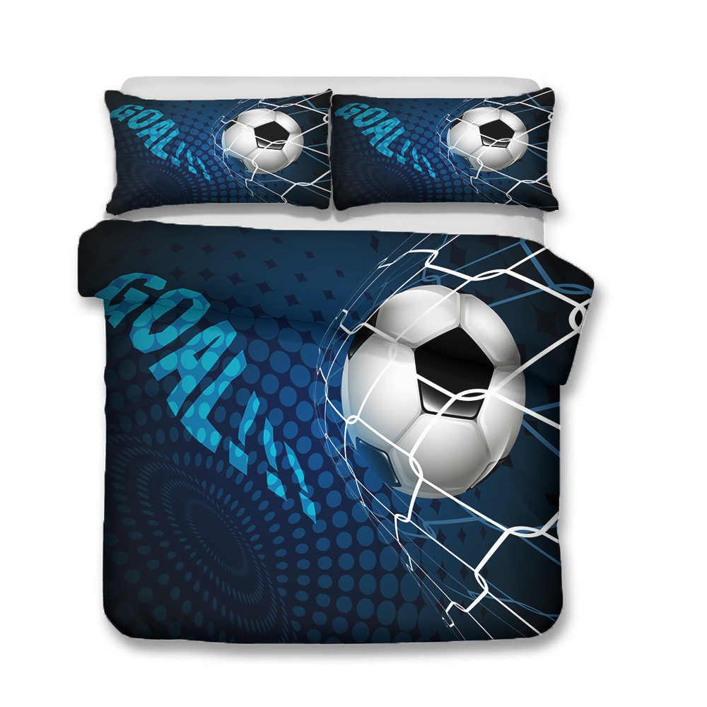 3D ชุดเครื่องนอนผ้านวมฟุตบอลเป้าหมายพิมพ์ผ้าพันคอห้องนอนเสื้อผ้าปลอกหมอนสำหรับ Boy