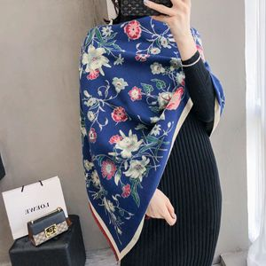 Image 4 - Bufanda cálida para invierno gruesa para mujer, chales de Cachemira, Pashmina con estampado Floral elegante para mujer, pañuelos de Foulard, diseño 2020