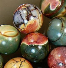 "beads NEW NATURAL 12MM PICASSO JASPER ROUND BALL LOOSE BEAD STRAND 15"" #@(China)"