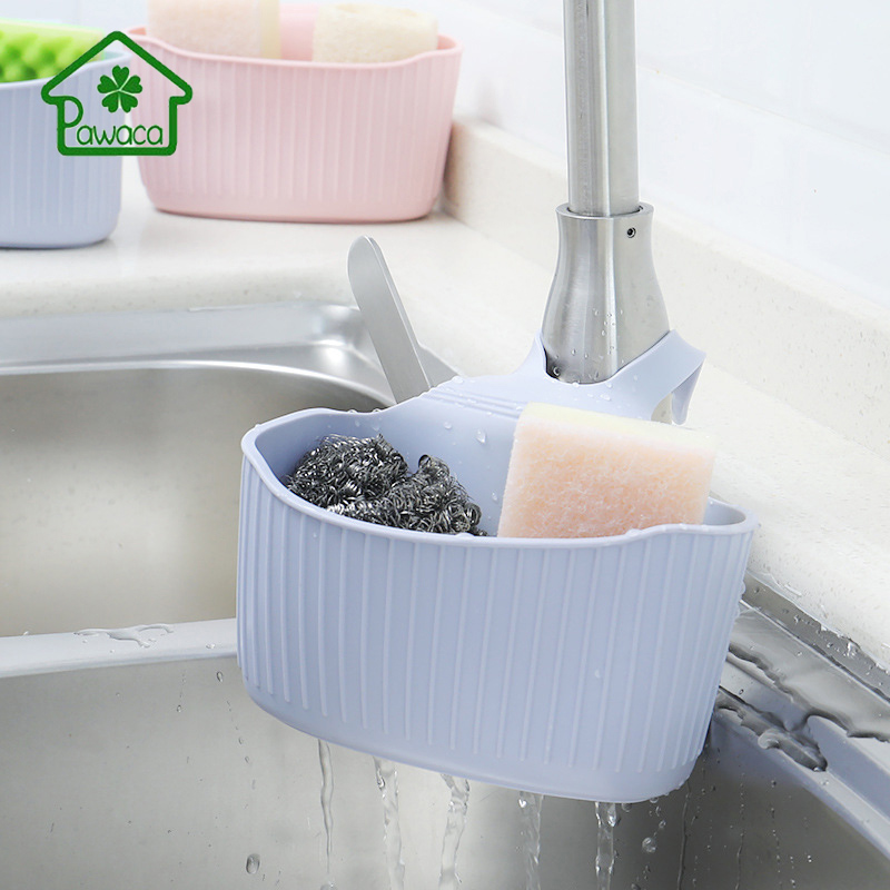 Pawaca Kitchen Sink Storage Shelf Rack Wall-Mounted Soap Sponge Storage Suction Cup Drain Basket Kitchen Sink Accessories Basket