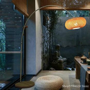 Lámpara De Pie De pesca Zen china, sala De estar japonesa, lámpara...