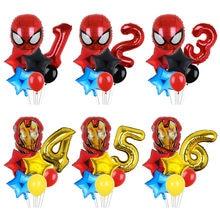 7 Uds Marvel Spiderman, Capitán América, globos de 32 pulgadas número cumpleaños inflable globos de papel de aluminio de cumpleaños, decoración de ducha de bebé