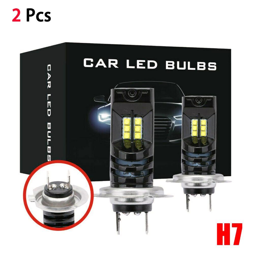 2pcs H7 LED Headlight 12V 6000K 55W IP68 Waterproof Super Bright 15000LM LED Bulb Auto Fog Light Lamp