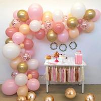 16 ft Balloon Arch & Garland Kit 116Pcs Latex Balloons Blush Pink White Gold Chrome Metallic &Rose Gold Confetti Orange Balloons