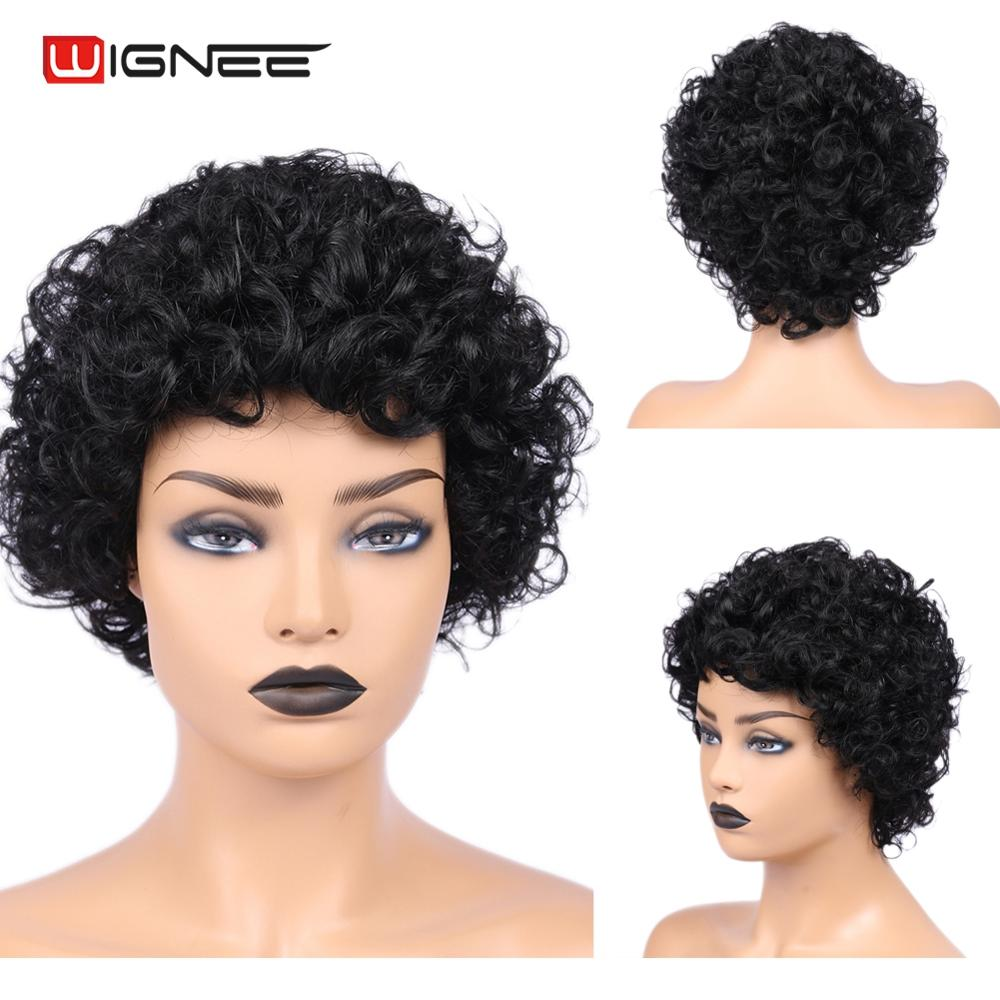 Wignee Brazilian Human Hair Wigs For Black/White Women 150% High Density Short Jerry Curl Remy Hair Machine Made Curly Human Wig