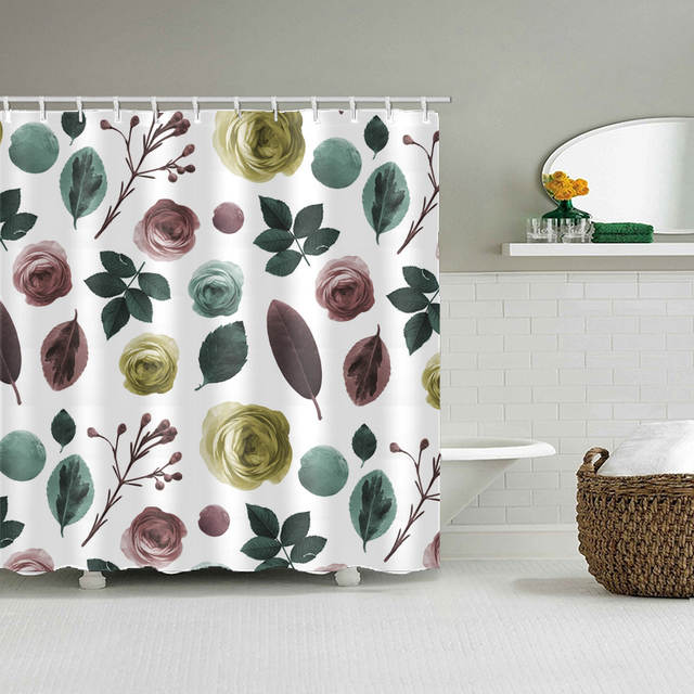 Online Shop Green Shower Curtain Leaves Printing Pattern Modern