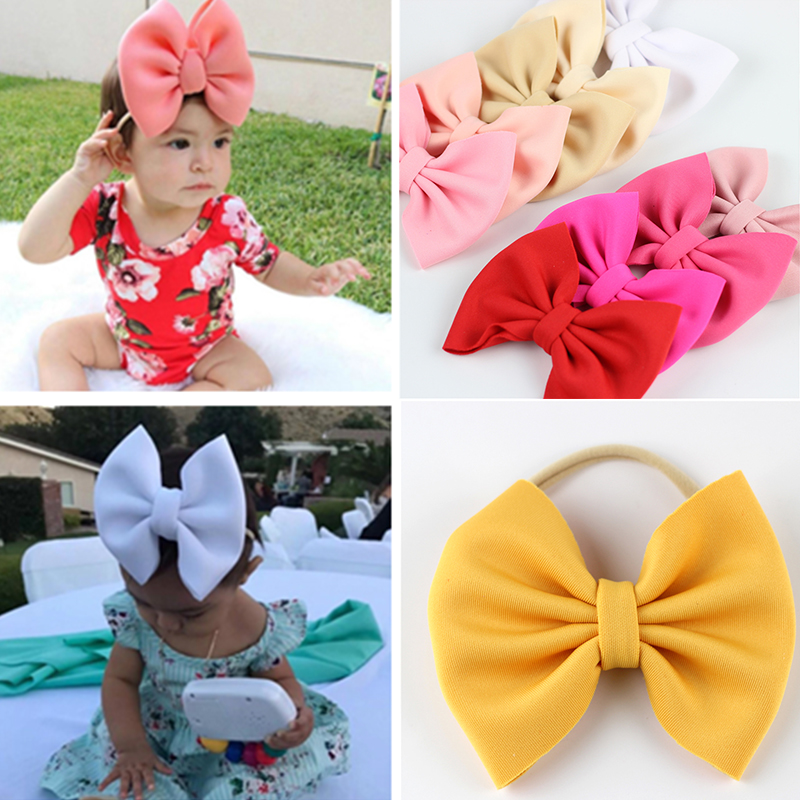 High Elastic Fit All Nylon Headband Scuba Bow With Nude Headbands For Newborn Headwear Baby Girls Soft Nyon Hairband Big Hairbow