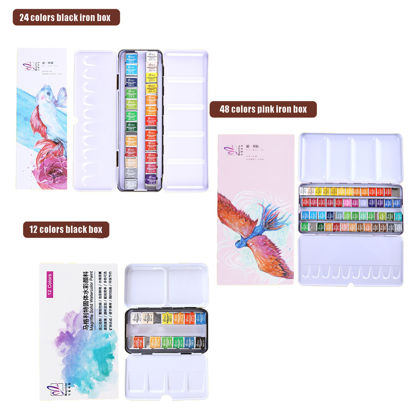 12/24/48 Colors Pigment Solid Watercolor Paints Set With Iron Box Watercolor Pigment Set Art Supplies