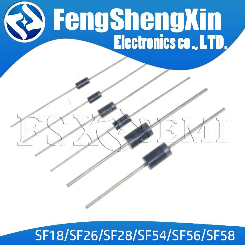 50pcs SF18 SF26 SF28 SF54 SF56 SF58 DIP Super Fast Recovery Diode 400/600V 1A2A3A5A