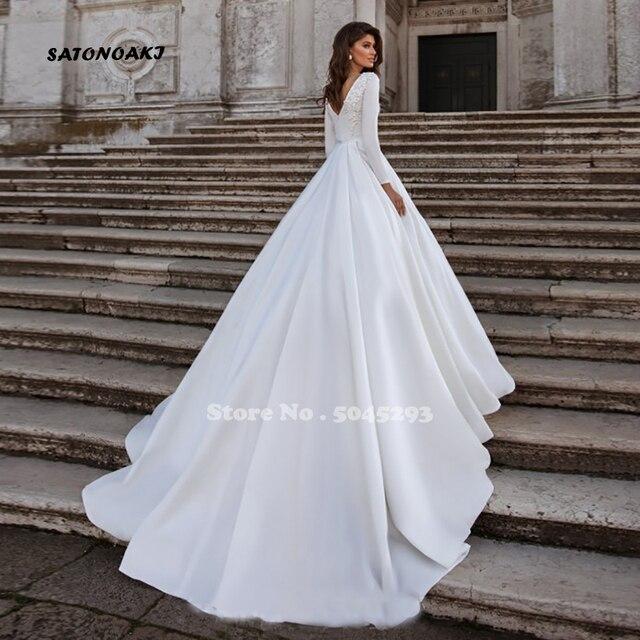 Simple Long Sleeve Wedding Dress 2020 for Women White Satin Princesa Bride Gowns Elegant Vestido Novia Robe De Mariée Sukienka 2