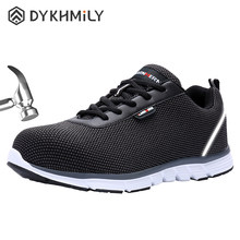 DYKHMILY Steel Toe Safety Shoes Men Women Anti-Static SRC Slip Resistant Lightweight Work Safety Sneakers with Reflective Stripe()