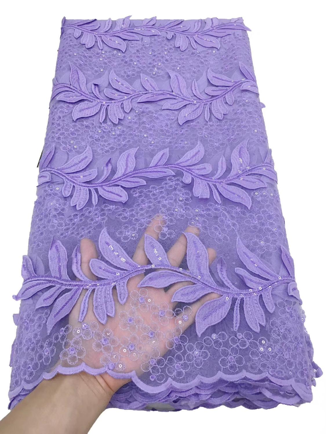 Purple Sequins French Tulle Lace Fabric High Quality African Lace Fabric 2020 Latest Milk Silk Lace For Evening Party Sew TS9127