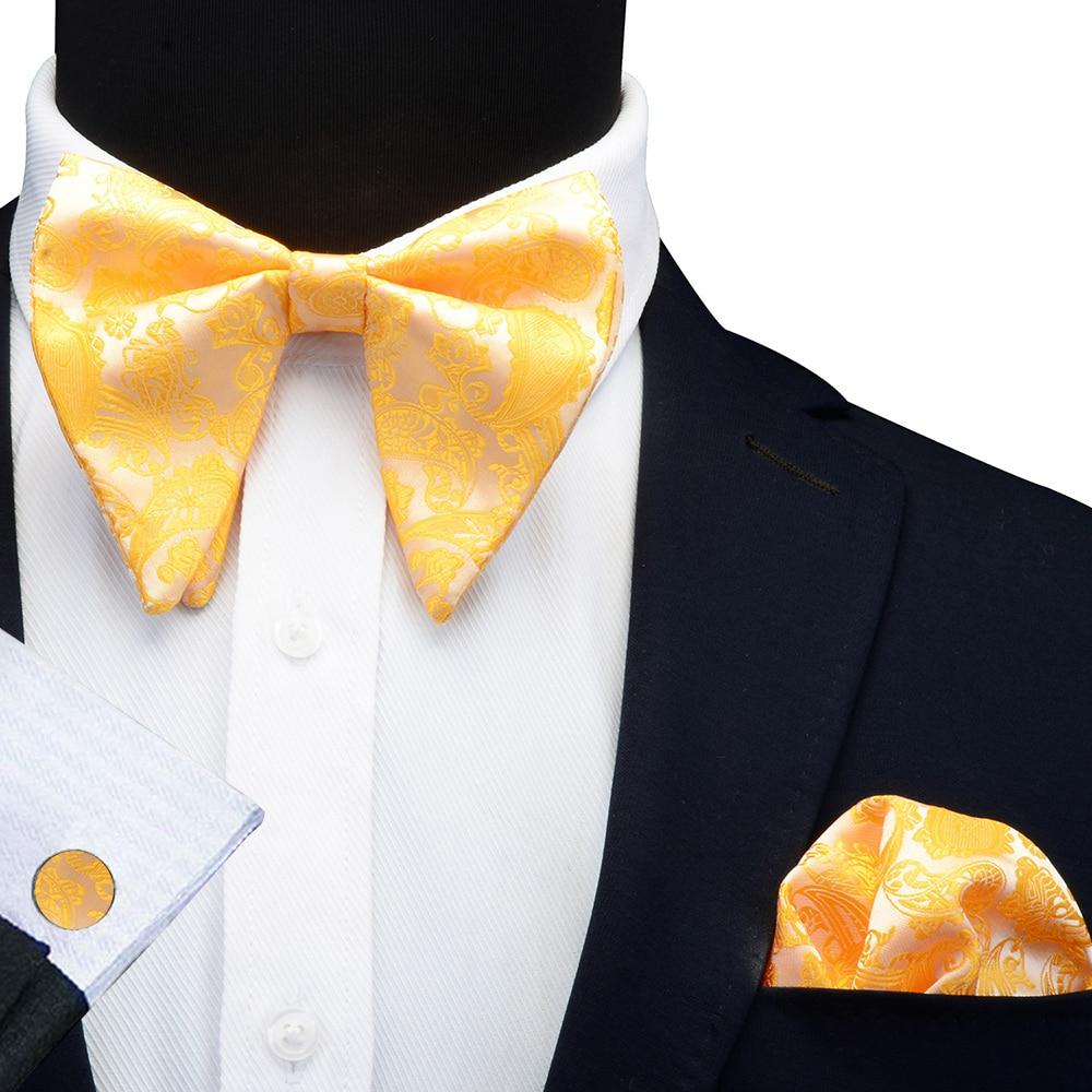 GUSLESON New Fashion Paisley Big Bowties For Men Women Groom Wedding Bow Tie Pocket Square Cufflinks Solid Gravatas Black Cravat