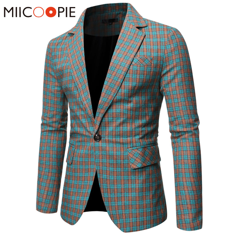 2019 Brand Plaid Men Blazer Jacket Slim Fit Single Button Long Sleeve Blazer Masculino Fashion Business Wedding Formal Suit Coat