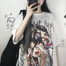 Camiseta gótica de Manga corta con estampado de Horror para mujer y niña, camiseta Harajuku, ropa coreana, ropa gótica con gráfico de Junji Ito