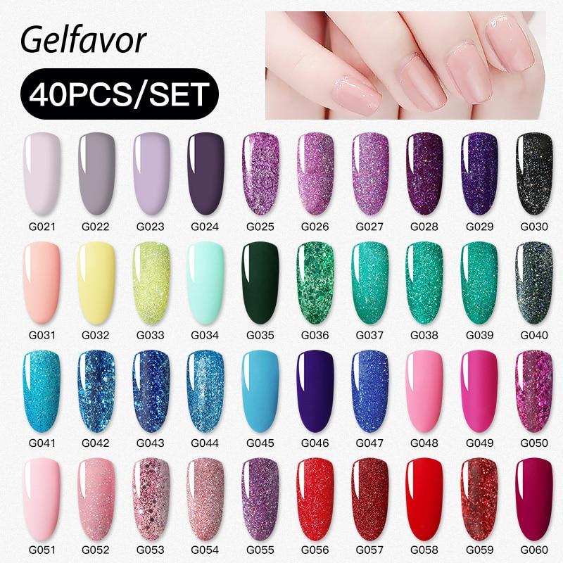 Gelfavor Manicure Set 40Pcs/Kit 8ML Nail Art Platinum UV LED Lamp Varnishes Painting Poly Gel Kits Base Top Coat Gel Lacquer
