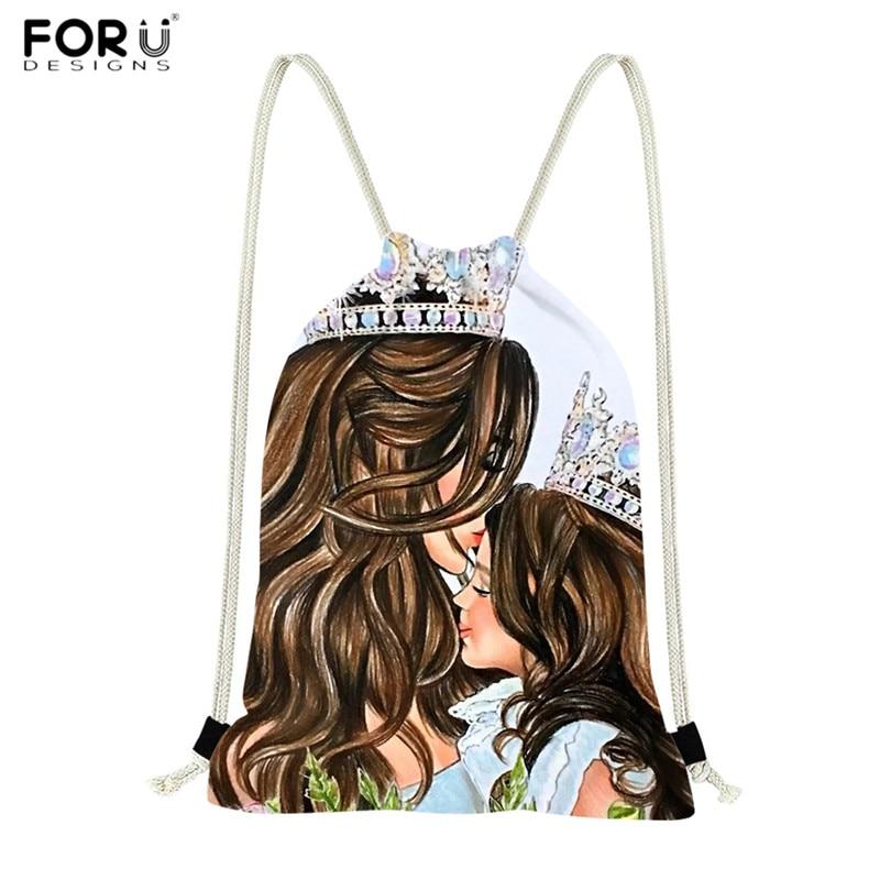 FORUDESIGNS Super Queen Mom Princess Girls Print Drawstring Bags Polyester Women Shopping Bag High Quality Travel Storage Bags