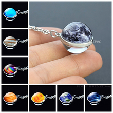 Full Moon Planet Glass Ball Cabochon Necklace Double Side Pendant Outer Space Galaxy Stars Nebula Jewelry Women Gifts
