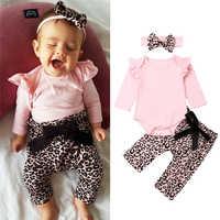 Conjunto de roupas de bebê da criança 3PCS Meninas Sólidos Top Estampa de Leopardo Calças Cabeça Babados Outfits Set conjunto de menina traje para bebê