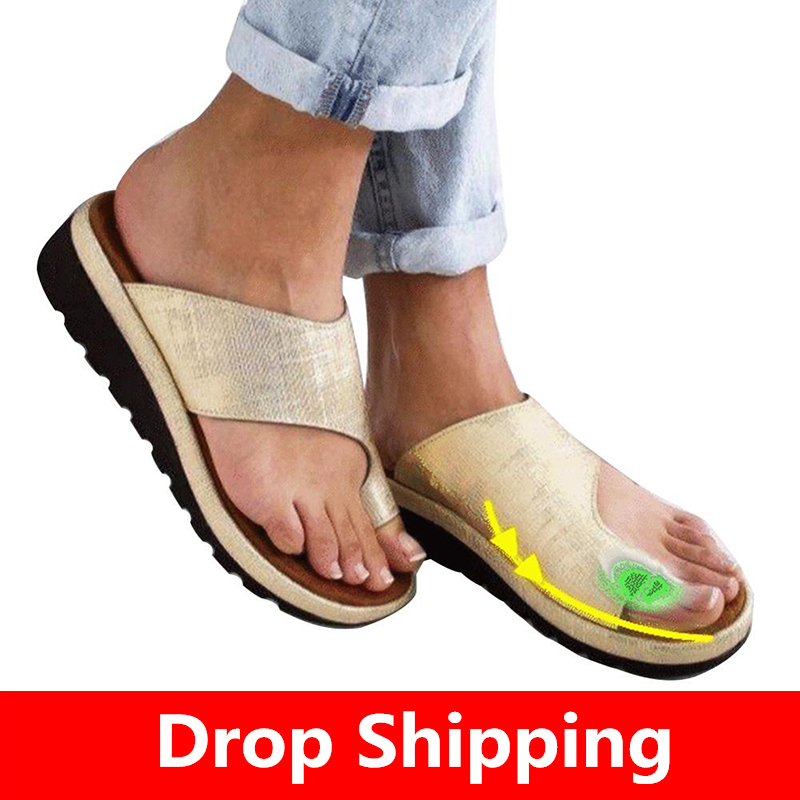Big Toe Foot Correction Sandal Comfy Platform Flat Sole Ladies Casual Soft Women PU Leather Shoes Orthopedic Bunion Corrector