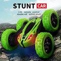 Автомобиль с дистанционным управлением  трюк  Радиоуправляемый автомобиль  высокая скорость  мигающий  3d  флип  зеленый и синий  Carro Controle Remoto ...