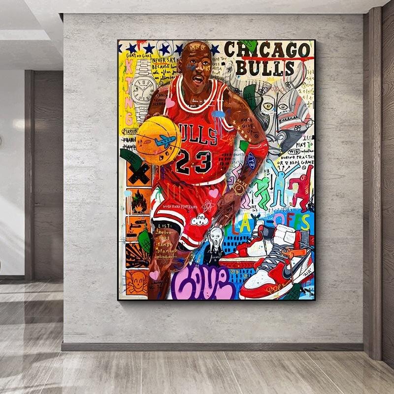 Graffiti duvar sanatı ünlü basketbol oyuncusu tuval resimleri duvar sanatı sokak posterler ve baskılar ev Cuadros dekor