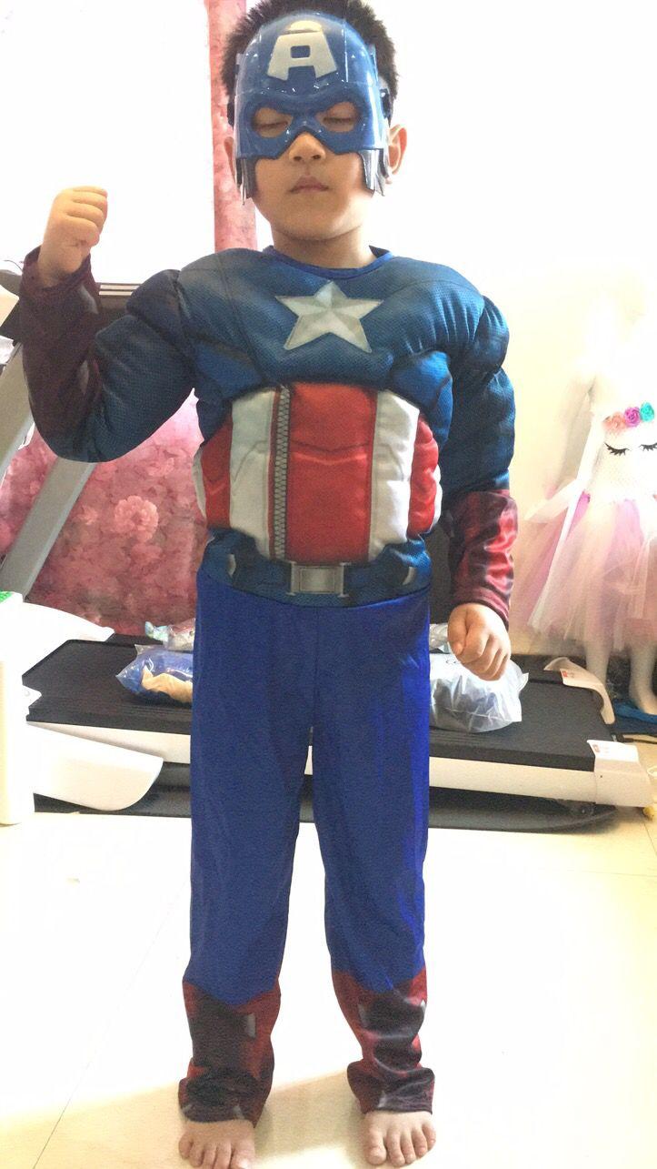 Blue Boys Party Fancy Dress Costume CAPTAIN AMERICA Cape and Mask Set