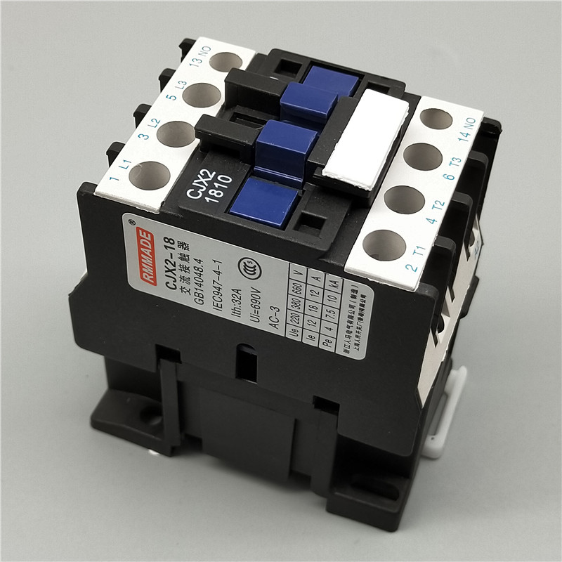 CJX2-1810 35mm DIN Rail Mount AC Contactor 3 Pole One NO 110V Coil 32A