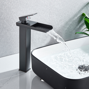 Image 4 - Brushed Nickel Waterfall Basin Faucet Single Lever Bathroom Vessel Sink Tap Deck Mounted Brass Lavatory sink Mixer Basin Tap