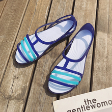 2019 Women Sandals Summer New EVA Casual Mixed Candy Colors Soft Slip On Beach Jelly Shoes Slippers Woman Flat Sandals eiswelt 2017 new women sandals sweet bowtie flat shoes woman summer jelly shoes 4 colors size 35 39 dzw23