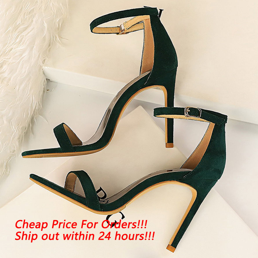 2020 Women 10cm High Heels Flock Stripper Sandals Female Fetish Strappy Red Shoes Lady Valentine Green Summer Classic Sexy Pumps